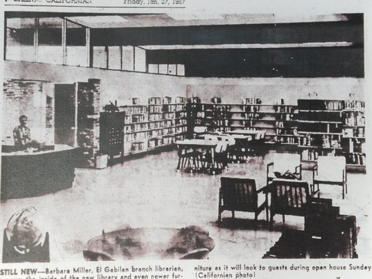 Photo from Salinas Californian of opening of El Gabilan library.