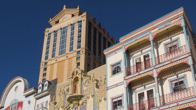 The exterior of Caesars Atlantic City in Atlantic City N.J., with the Wild West facades of Bally's Atlantic City in the foreground.