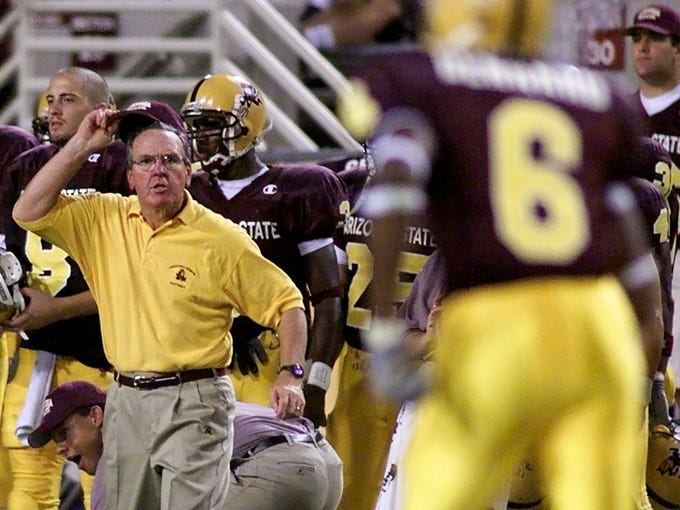 ASU head coach Bruce Snyder reacts after a turnover