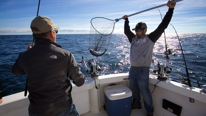 A Lake Michigan rainbow gets netted on the Corkscrew.