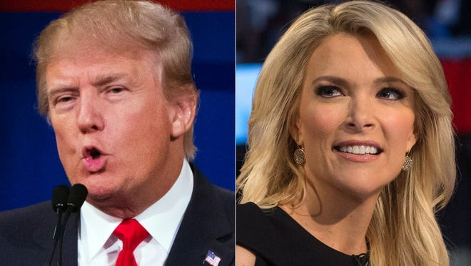 This file photo combination made from Aug. 6, 2015, photos shows Republican presidential candidate Donald Trump, left, and Fox News Channel host and moderator Megyn Kelly during the first Republican presidential debate at the Quicken Loans Arena, in Cleveland.