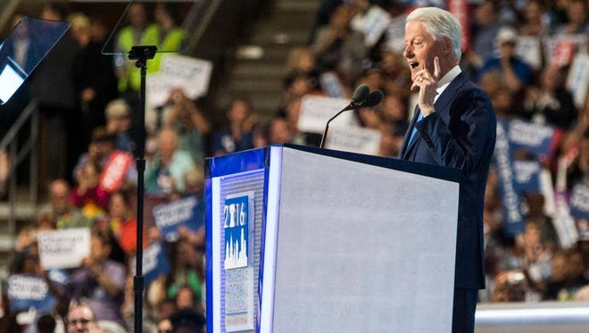 Former President Bill Clinton speaks during the 2016 Democratic National Convention at Wells Fargo Arena in Philadelphia, Pa.