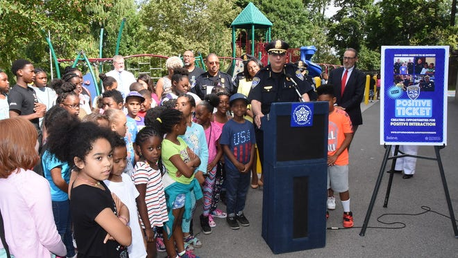 """Rochester Police Chief Michael Ciminelli speaks at an event announcing the city's """"positive tickets"""" program. The program launches Aug. 21."""