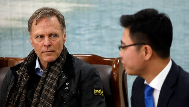 Fred Warmbier, the father of Otto Warmbier who was imprisoned in North Korea for 17 months listens to Ji Seong-ho, North Korean defector at the meeting room in the South Korean Navy 2nd Fleet Commnad on February 9, 2018 in Pyeongtaek, South Korea. The U.S. Vice President Mike Pence is visiting South Korea and will lead the U.S. delegation in the opening ceremony of PyeongChang Winter Olympic Games.  (Photo by Woohae Cho/Getty Images)