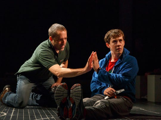 "Ian Barford and Alex Sharp perform in ""The Curious"