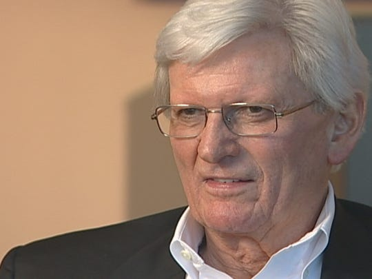 """This picture of Jake Butcher, provided by WBIR-TV, shows Butcher during an interview with the station on April 22, 2007, in Knoxville, Tenn. Butcher helped bring the World's Fair to Knoxville in 1982, but the collapse of his banking empire soon after """"took a lot of wind out of the sails for Knoxville,"""" he said in the interview."""