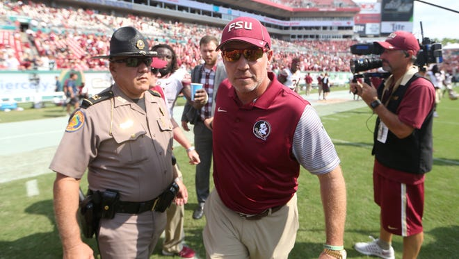 FSU Head Coach Jimbo Fisher won't have his traditional police chaperone when the Seminoles take the field at Hard Rock Stadium. All officers are on post-Matthew duty.