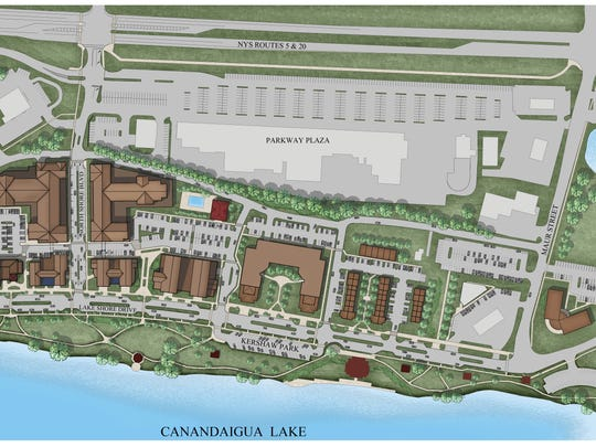 Site plan for redevelopment of the north shore of Canandaigua Lake.