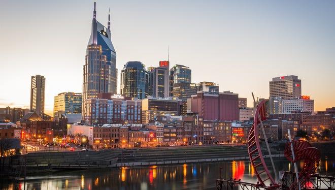 Downtown Nashville skyline at sunset