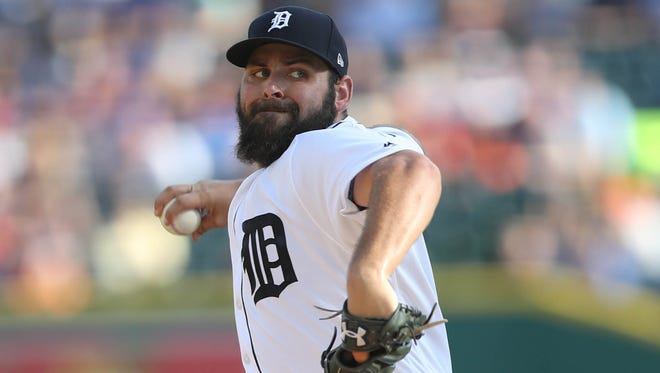 Tigers pitcher Michael Fulmer throws against the Toronto Blue Jays during the first inning on Saturday, July 15, 2017, at Comerica Park.