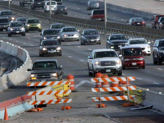 Drivers travel along Interstate 10 East at the Executive