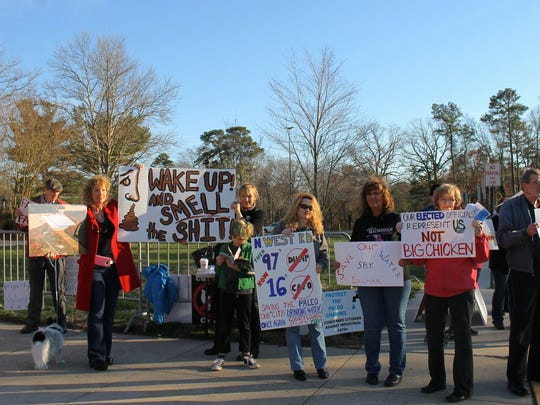 Protesters gather outside the Wicomico Youth & Civic
