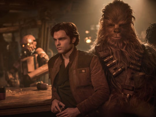 Alden Ehrenreich is Han Solo, left, and Joonas Suotamo