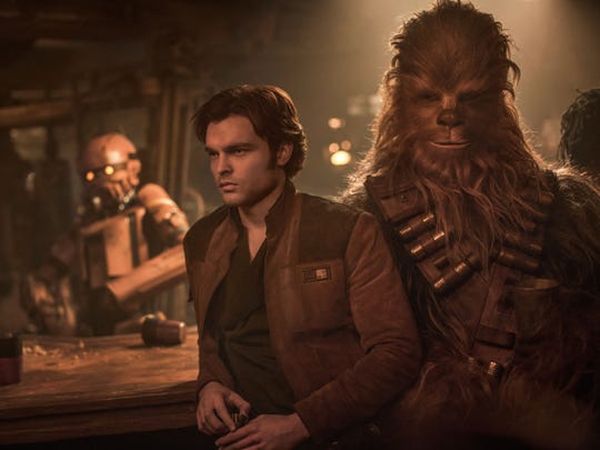 Alden Ehrenreich is Han Solo, left, and Joonas Suotamo