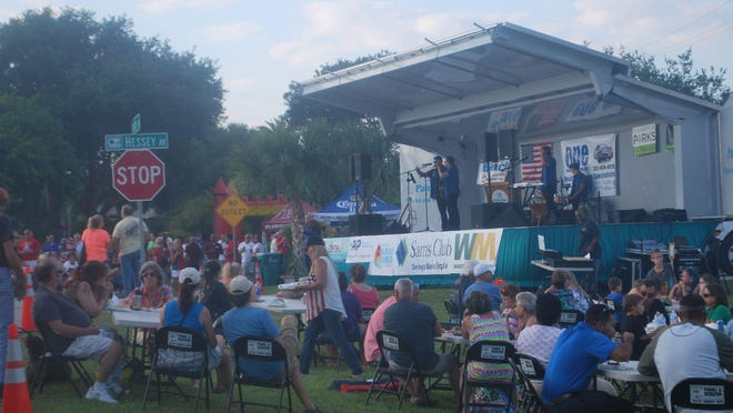 La Calle, a Latin band from Orlando, entertains the crowd during the May 2015 inaugural First Friday by the Bay street party in Palm Bay.