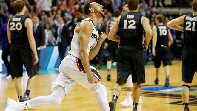 Mar 25, 2017; San Jose, CA, USA;Gonzaga Bulldogs guard Nigel Williams-Goss (5) reacts after the Gonzaga Bulldogs defeat the Xavier Musketeers 83-59 in the West Regional final game of the men's NCAA college basketball tournament between the Xavier Musketeers and the Gonzaga Bulldogs at SAP Center. Mandatory Credit: Michael Chow/The Arizona Republic via USA TODAY Sports