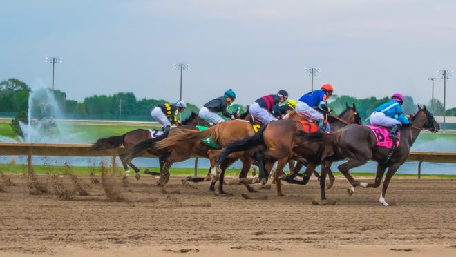 And they're off! Horses race during Prairie Meadows' special Kentucky Derby races Saturday, May 7, 2016, in Altoona.