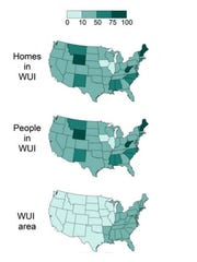 Top map: The percentage of homes in the wildland-urban interface in each state. Middle map: The percentage of the population that lives in the WUI in each state. Bottom map: The percentage of each state that's classified as a WUI.