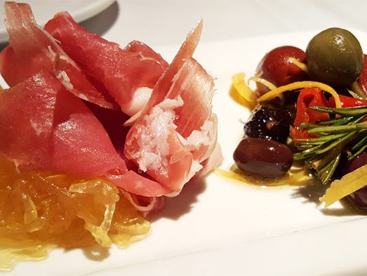 Cured jamon with candied spaghetti squash at Proof's