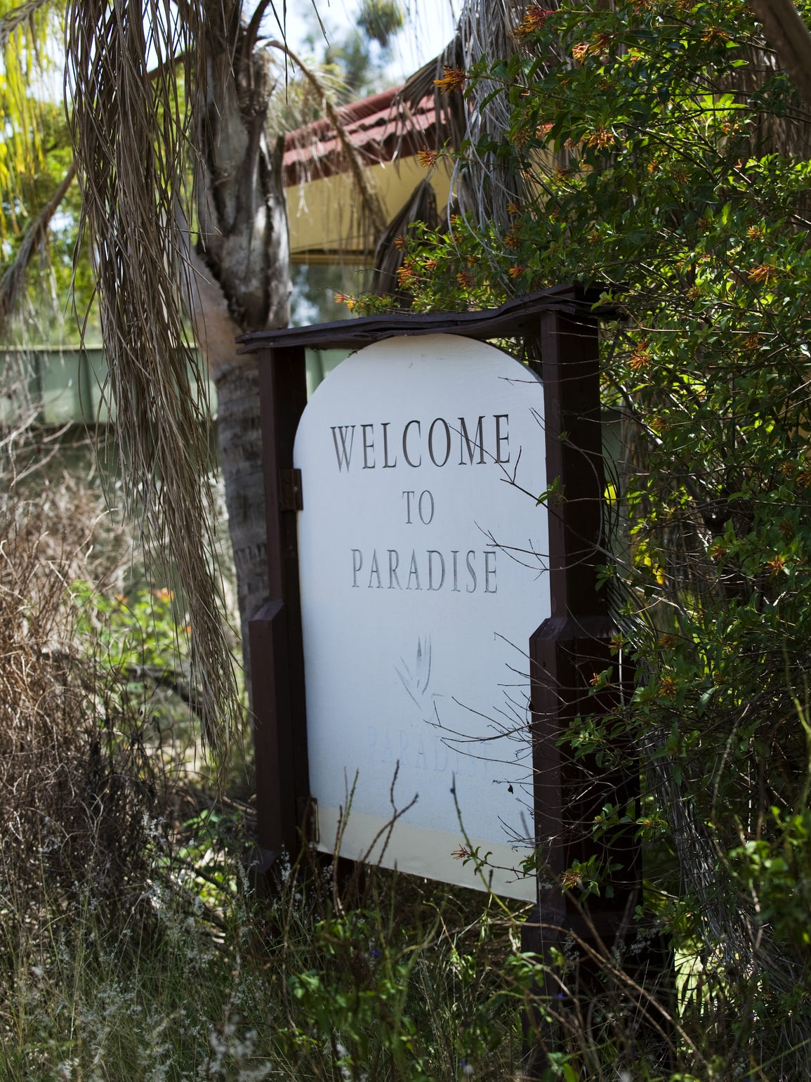 The welcome sign at Paradise Preserve in North Fort