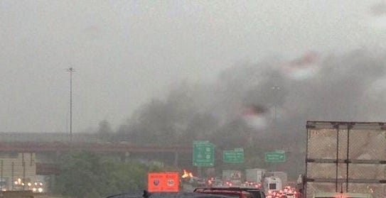 A vehicle caught fire on I-75 South during rush hour Tuesday evening.