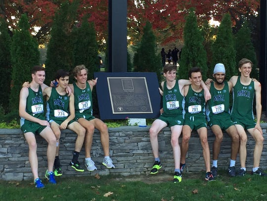 MKA boys cross-country with Tom Fleming plaque: (from