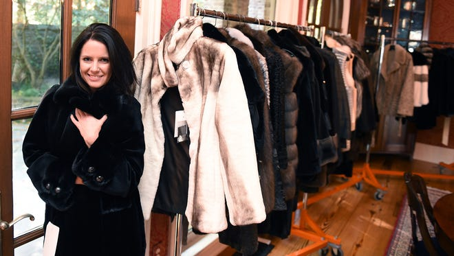 """Off The Record creator Jessica Beattie models one of the coats that will be part of the high-end fashion show set for Sunday at the Sylvia Roberts estate, home of ABC """"Nashville"""" character Rayna Jaymes."""