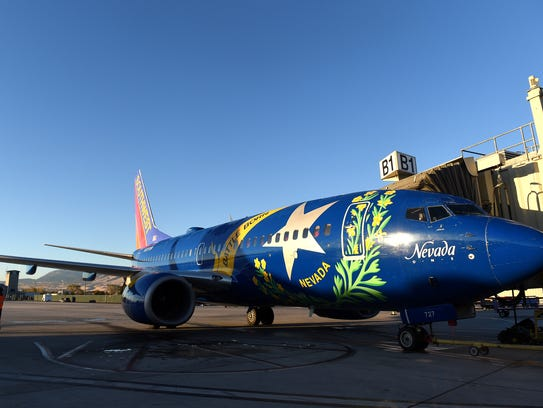 A Southwest Airlines plane, loaded with Native American