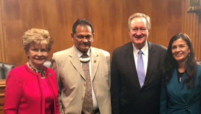 From left to right: Congresswoman Madeleine Bordallo, Robert Celestial, Senator Mike Crapo (R-ID),Vice Speaker Therese Terlaje