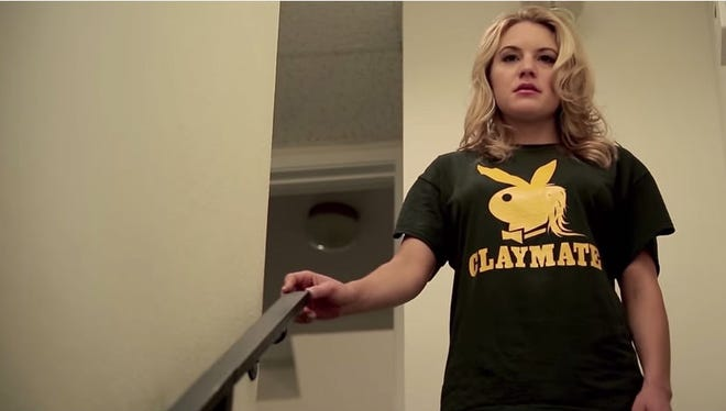 """Catherine Urbanek in a scene from her short film """"Too Much Clay Matthews."""""""