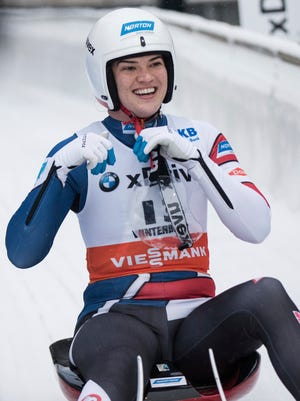 United States' Summer Britcher smiles when placing second during the women's singles race event at the Luge World Cup in Winterberg, Germany, Sunday, Nov. 26, 2017.