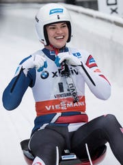 Glen Rock's Summer Britcher smiles when placing second during the women's singles sprint race event at the Luge World Cup in Winterberg, Germany, Sunday, Nov. 26, 2017. Britcher enjoyed her best-ever World Cup season, finishing third overall. Now she's hoping to medal in the 2018 Winter Olympics in South Korea. AP FILE PHOTO