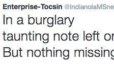 The Enterprise-Tocsin has turned weekly crime into hit haikus on the Internet.