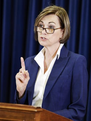 Iowa Gov. Kim Reynolds is shown during a news conference Thursday at the Statehouse in Des Moines.