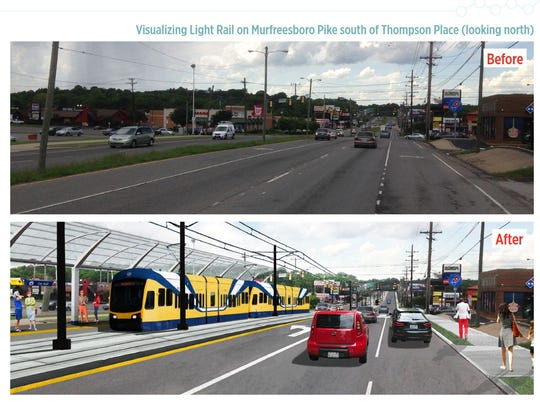 Before and after renderings show what the Nashville Light Rail could look like on Murfreesboro Pike south of Thompson place looking north.