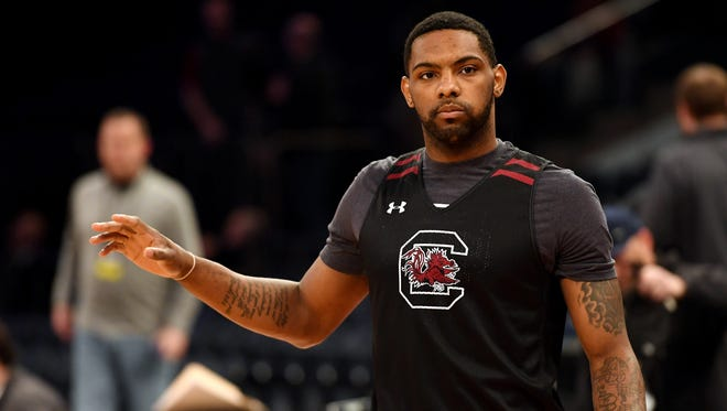 South Carolina Gamecocks guard Sindarius Thornwell (0) during practice the day before the East Regional semifinals of the 2017 NCAA Tournament at Madison Square Garden in New York.