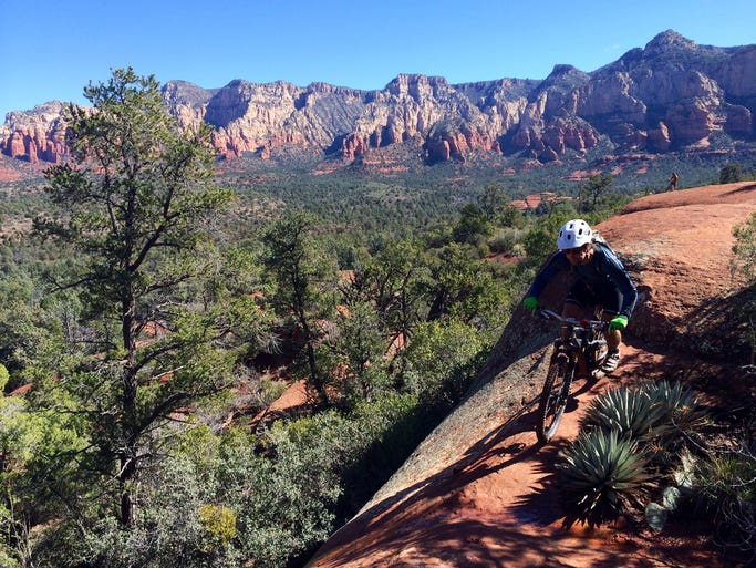 The Hogs in Sedona were originally built as mountain bike trails and are steep and exposed in spots.