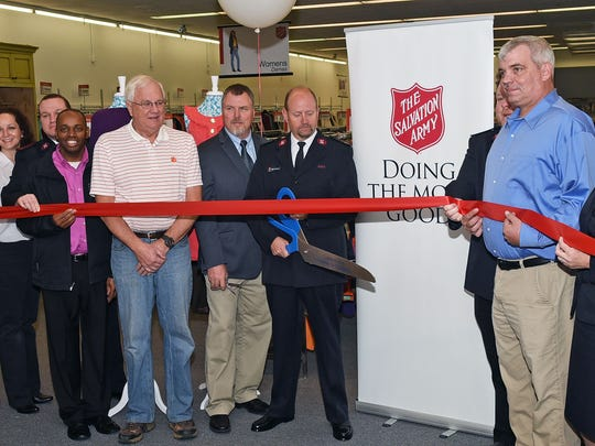 Getting ready to cut the ribbon at the new Salvation Army Family Store in Clemson.