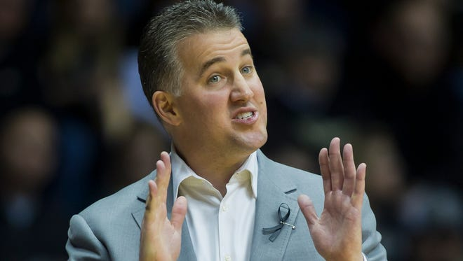 Purdue coach Matt Painter during their game against Wisconsin Saturday, January 25, 2014, at Mackey Arena in West Lafayette. Purdue lost 72-58.
