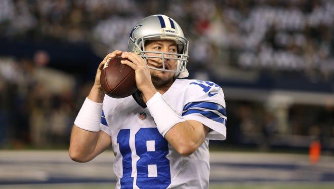 Dallas Cowboys quarterback Kyle Orton (18) throws prior to the game against the Philadelphia Eagles last December.
