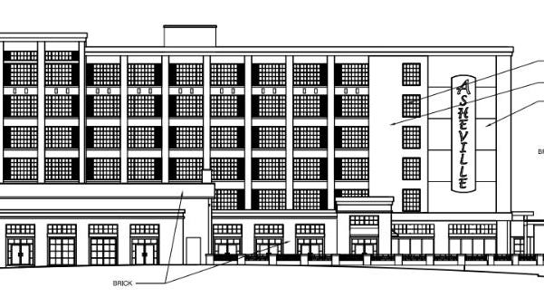 This drawing shows a hotel proposed for property to the southeast of Biltmore Village.