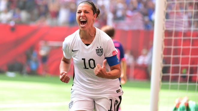 United States midfielder Carli Lloyd (10) reacts after scoring a goal against Japan in the first half of the final of the FIFA 2015 Women's World Cup on July 5, 2015.