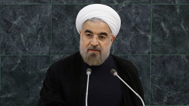 Iranian President Hasan Rouhani addresses the United Nations General Assembly on Tuesday.