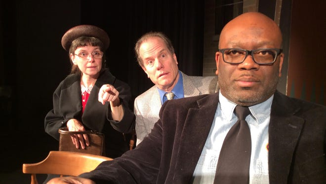 """L to R : Michon R. Givens, Eric A. Arvidson, Tommy B. King, III star in """"Driving Miss Daisy"""" for Prattville's Way Off Broadway Theatre."""