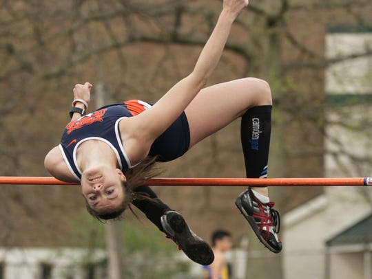 Galion's Marisa Gwinner cleared 5-5 to win the high