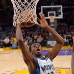 Minnesota Timberwolves forward Andrew Wiggins dunks during the April 10 game against the Los Angeles Lakers in Los Angeles.