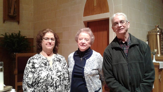 From left: Linda Mirocco, Dee Savare and Rich Mirocco were among 58 pastoral musicians recognized for their service by the Diocese of Metuchen.