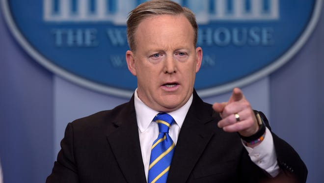 White House press secretary Sean Spicer calls on a reporter during the daily briefing at the White House in Washington, Tuesday.