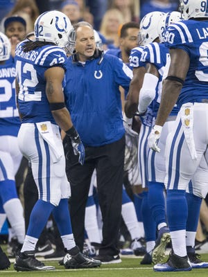 Chuck Pagano talks with players after a long punt return for Indianapolis, Lucas Oil Stadium, Indianapolis, Sunday, Dec. 20, 2015.