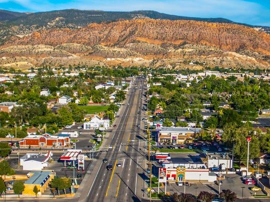 An aerial view of 200 N. (Freedom Blvd) in Cedar City, Utah.